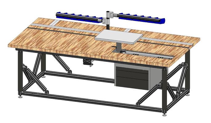 FL Table mit Höhenverstellung Handkurbel