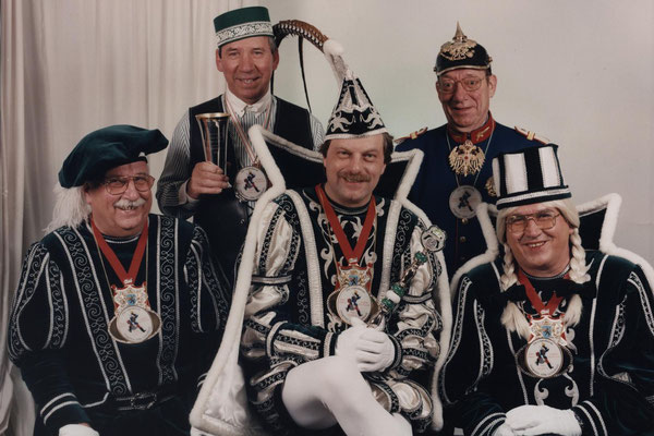 Dreigestirn 1996: Prinz Klaus II. (Klaus Schmitz), Bauer Ernst (Reinartz), Jungfrau Dietlinde (Dieter Fischer)