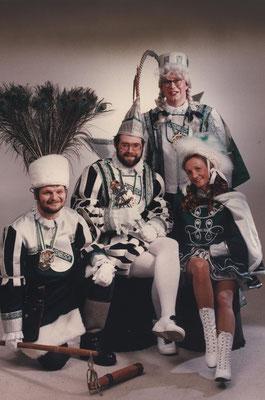 Dreigestirn 1991 & 1992: Prinz Kurt I. (Kurt Hoffmann), Bauer Rolf (Nicoll), Jungfrau Kalle (Karl-Heinz Laschet)