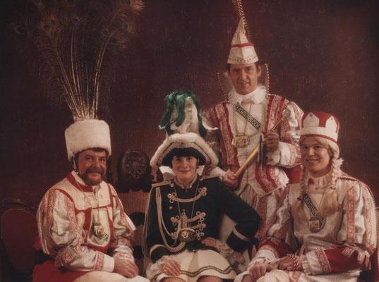 Dreigestirn 1983: Prinz Jochen Genter (Jochen I.), Bauer Reginald Fibus, Jungfrau Reinhard Plum