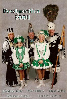 Dreigestirn 2001: Prinz Kalle I. (Karl-Heinz Laschet ), Bauer Georg (Cischatko), Jungfrau Karla (Karl Stollenwerk)