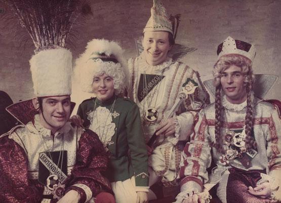 Dreigestirn 1975: Prinz Willi Giesen (Willi I.), Bauer Franz Keutgen, Jungfrau Heinz Miseré