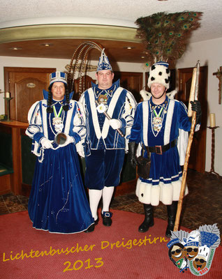 Dreigestirn 2013: Prinz Jörg I. (Bosshammer), Bauer Martin (Campo), Jungfrau Barbara (Holger Campo)