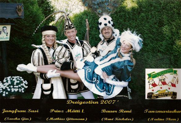 Dreigestirn 2007: Prinz Mätti I. (Mathias Götemann), Bauer René (Köcheler), Jungfrau Susi (Sascha Gier)