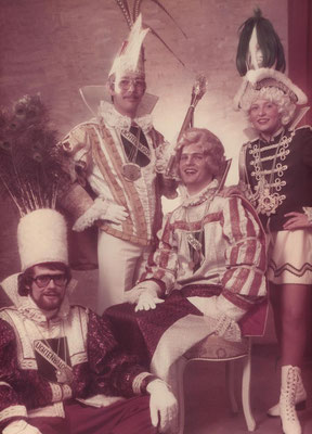 Dreigestirn 1977: Prinz Franz Edy Schlembach (Edy I.), Bauer Kurt Hoffmann, Jungfrau Hajo Kaldenbach