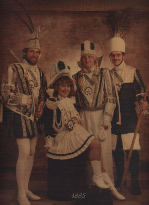 Dreigestirn 1985: Prinz Wolfgang Dittmar (Wolfgang I.), Bauer Gerd Hickmann, Jungfrau Reinhold Dödtmann