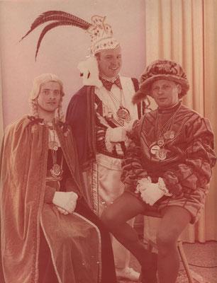Dreigestirn 1969: Prinz Philipp Schulte (Phillip I.), Bauer Arnold Claasen, Jungfrau Hermann-Josef Neumann