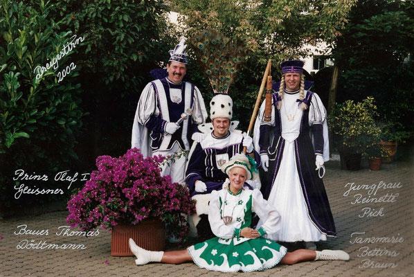 Dreigestirn 2002: Prinz Olaf I. (Olaf Gleissner), Bauer Thomas (Dödtmann), Jungfrau Reinette (Reiner Pick)