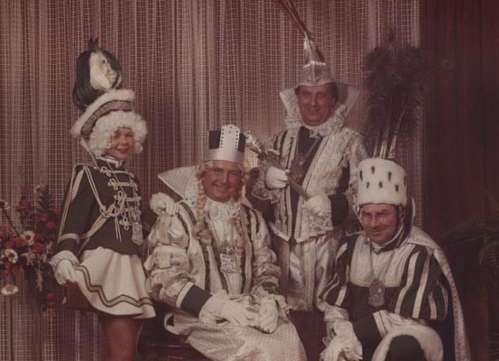 Dreigestirn 1979: Prinz Enst Reinartz (Ernst I.), Bauer Walter Bayer, Jungfrau Julius Jansen