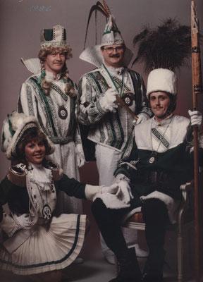 Dreigestirn 1986: Prinz Gert Könen (Gert I.), Bauer Horst Gatzweiler, Jungfrau Alfred Winkhold