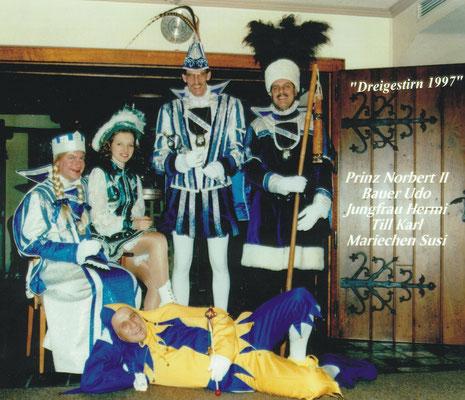 Dreigestirn 1997: Prinz Norbert II. (Norbert Dödtmann), Bauer Udo (Sieger), Jungfrau Hermann-Josef (Geilen)