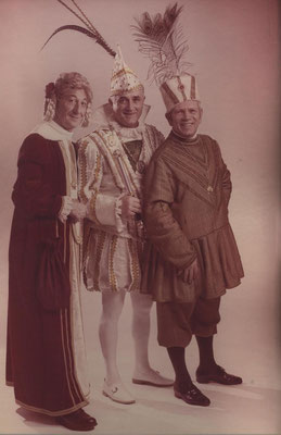Dreigestirn 1972: Prinz Gerd Könen (Gerd I.), Bauer Peter Josten, Jungfrau Theo Zilg