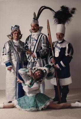 Dreigestirn 1989: Prinz Eduard Löffel (Edy II.), Bauer Gustav Mertens, Jungfrau Ernst Döring