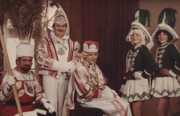Dreigestirn 1982: Prinz Hermann Scheuren (Hermann I.), Bauer Manfred Vowe, Jungfrau Heinz Feinhals