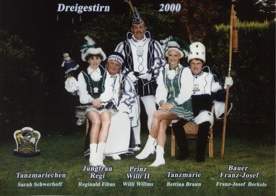 Dreigestirn 2000: Prinz Willi II. (Willi Wilms), Bauer Franz-Josef  (Berkele), Jungfrau Regi (Reginald Fibus)