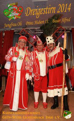 Dreigestirn 2014: Prinz Hubert II. (Windmüller), Bauer Alfred (Lützeler), Jungfrau Oli (Olaf Gleissner)
