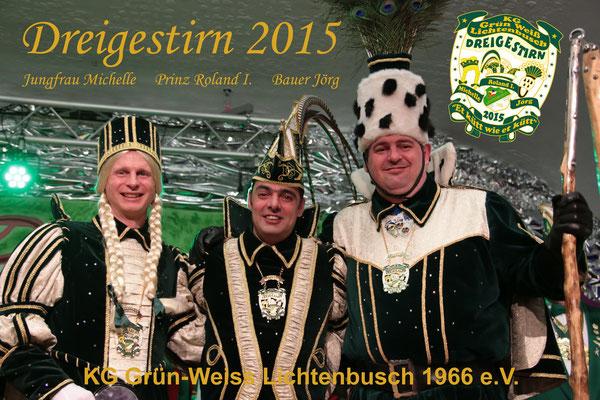 Dreigestirn 2015: Prinz Roland I. (Retz), Bauer Jörg (Boßhammer), Jungfrau Michelle (Michael Hermanns)