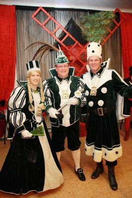 Dreigestirn 2012: Prinz Jan I. (Buchsteiner), Bauer Ralph (Schulenburg), Jungfrau Basti (Bastian Hahn)