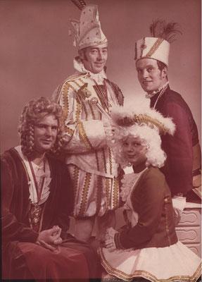 Dreigestirn 1973: Prinz Richard Kaldenbach (Richard I.), Bauer Walter Campo, Jungfrau Horst Breuer