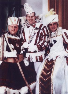 Dreigestirn 1968: Prinz Matthias Laschet (Mathieu I.), Bauer Otto Vaeßen, Jungfrau Karl Campo