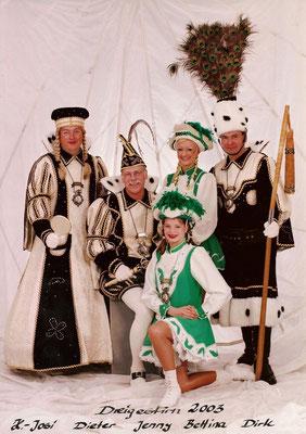 Dreigestirn 2003: Prinz Dieter I. (Dieter Torner), Bauer Dirk (Lux), Jungfrau H.-Josi (Heinz-Josef Frenken)