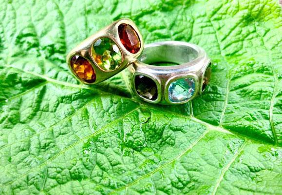 Ringe, Gold, individuell, Weißgold, Farbsteine