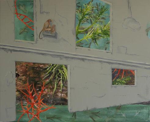 Zur schönen Aussicht / Acryl auf Textil / 100 x 80 cm