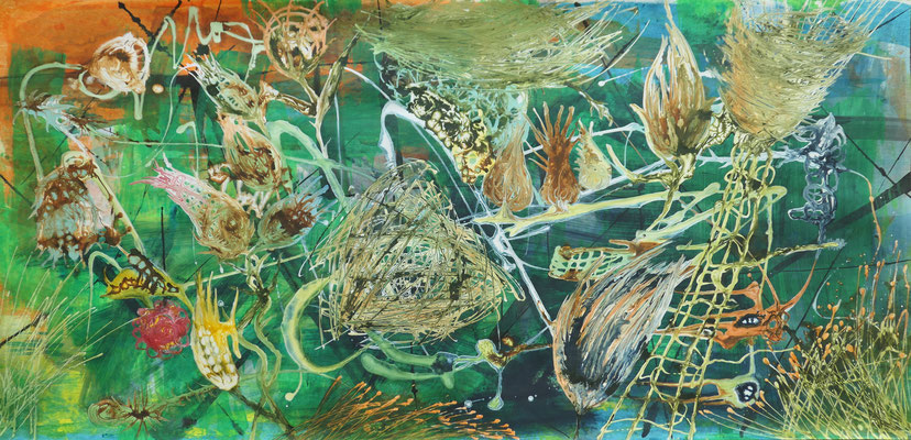 o. T. , 150 x 75 cm, Mixed Media auf Papier