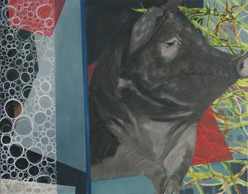Die Nachbarin / Acryl auf Textil / 100 x 80 cm