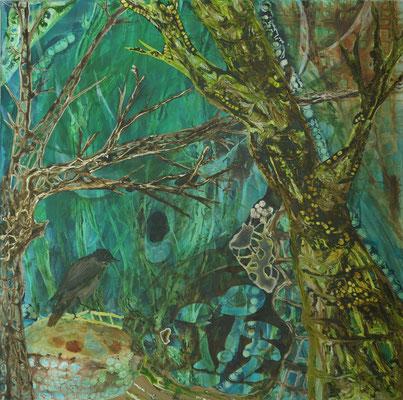 Biotop I, 80 x 80 cm, Acryl und Tusche auf Textil