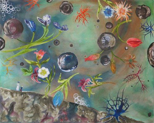 Regentag / Acryl auf Textil / 100 x 80 cm