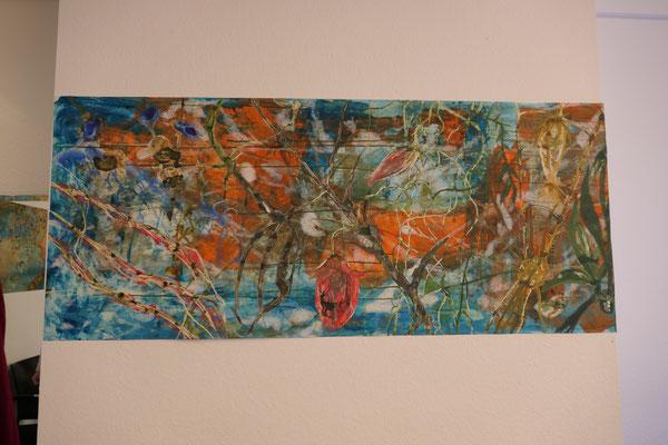 """Titel: """"Shangri-La"""" (ca. 1,80 x 75 cm) Mixed Media auf Papiervlies"""