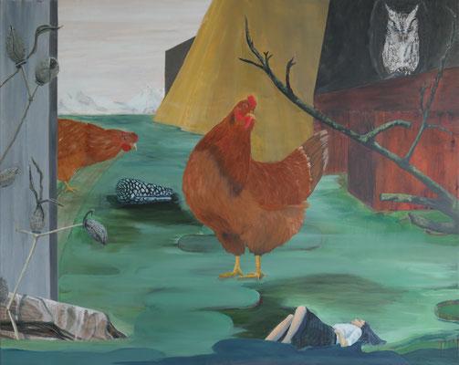Der Traum vom Landleben / Acryl auf Textil / 100 x 80 cm