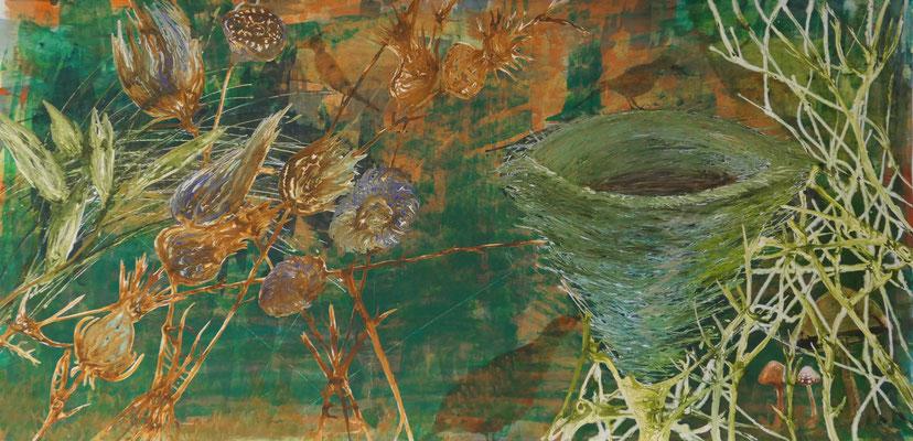 Nest, 150 x 75 cm, Mixed Media auf Papier