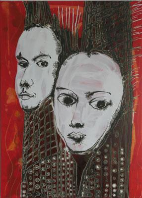 Paar, 50 x 70 cm Mixed Media auf Textil
