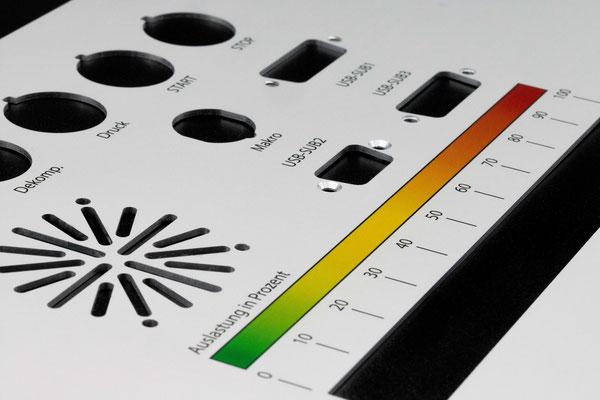 Detailansicht des gedruckten Farbverlaufes einer Frontplatte