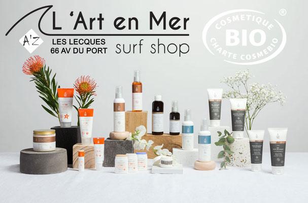 EQ Love cosmétique naturelle certifié bio made in France Surf Shop Les Lecques L' Art en Mer Concept Store Saint Cyr sur Mer
