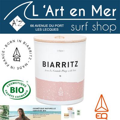 EQ Love cosmétique naturelle certifié Bio bougie Biarritz naturelle made in France Surf Shop Les Lecques L' Art en Mer Concept Store Saint Cyr sur Mer