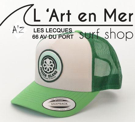 L'Art en Mer Surf Shop Les Lecques Jonsen Island casquette trucker-hat-rainbow-green