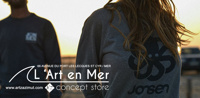 L'art en mer concept store Surf Shop Les Lecques Saint Cyr sur Mer photo Jonsen Island sweatshirt Falco Heather grey