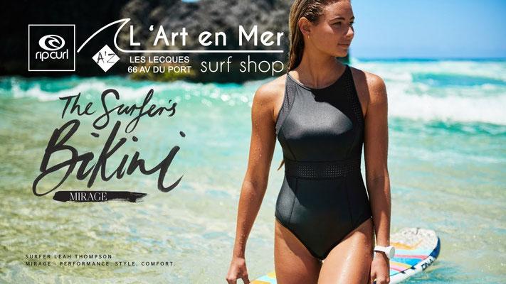 Ripcurl combinaisons et maillots de bains femmes L'Art en Mer surf Shop Les Lecques