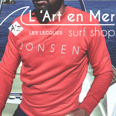 L'art en mer concept store Surf Shop Les Lecques Saint Cyr sur Mer sweatshirt Falco simple red