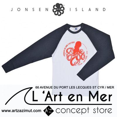 L'art en mer concept store Surf Shop Les Lecques Saint Cyr sur Mer t-shirt baseball shirt origine navy white