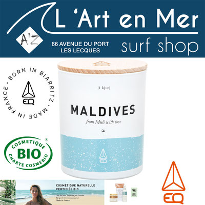 EQ Love cosmétique naturelle certifié Bio bougie Maldives naturelle made in France Surf Shop Les Lecques L' Art en Mer Concept Store Saint Cyr sur Mer