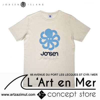 L'art en mer concept store Surf Shop Les Lecques Saint Cyr sur Mer t-shirt classic big natural white Jonsen Island