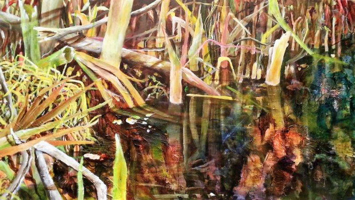 Teichufer, Acryl/Mischtechnik auf Leinwand, 100x50 cm, 2018
