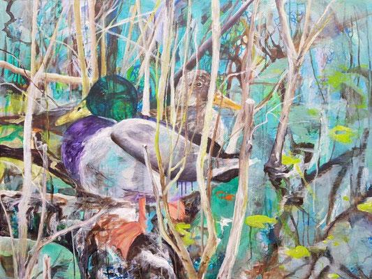 Versteckt, Acryl auf Leinwand, 100x80 cm, 2019