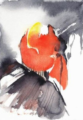 "Aquarell - ""Rote Blüte"""