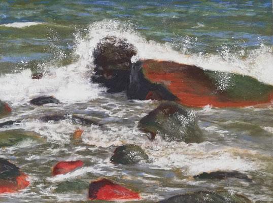 Wellenbrecher, Pastell, 30 x 40 cm