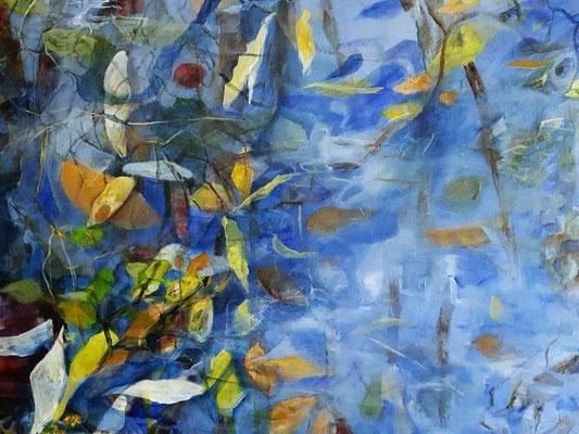 Blätter im Wasser, Acryl auf Leinwand, 120x100 cm, 2016